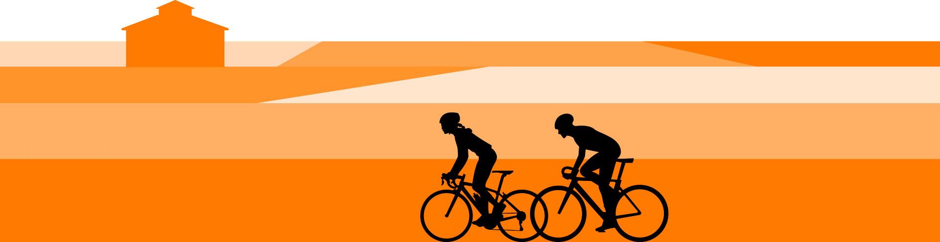 Bicicletas con palomar de fondo